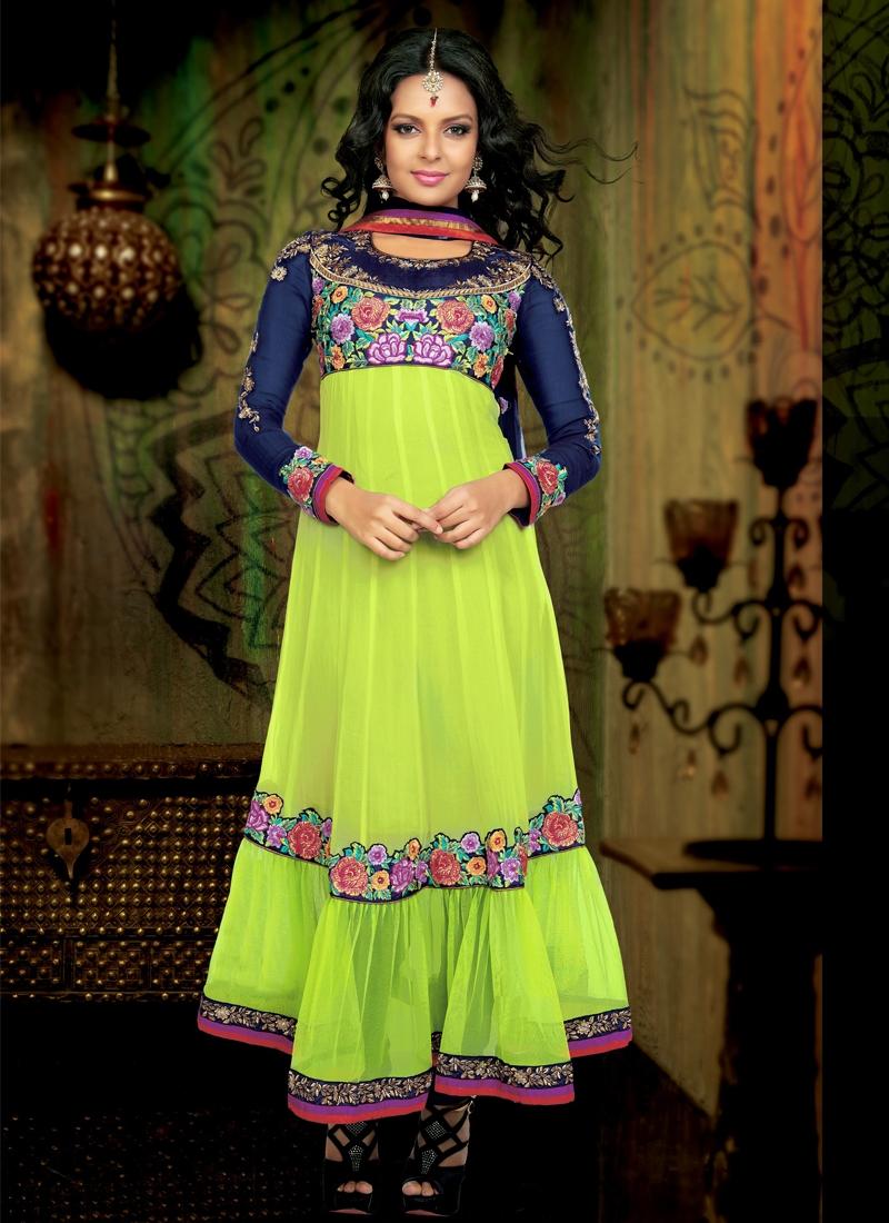 Dazzling Resham Work Georgette Anarkali Suit