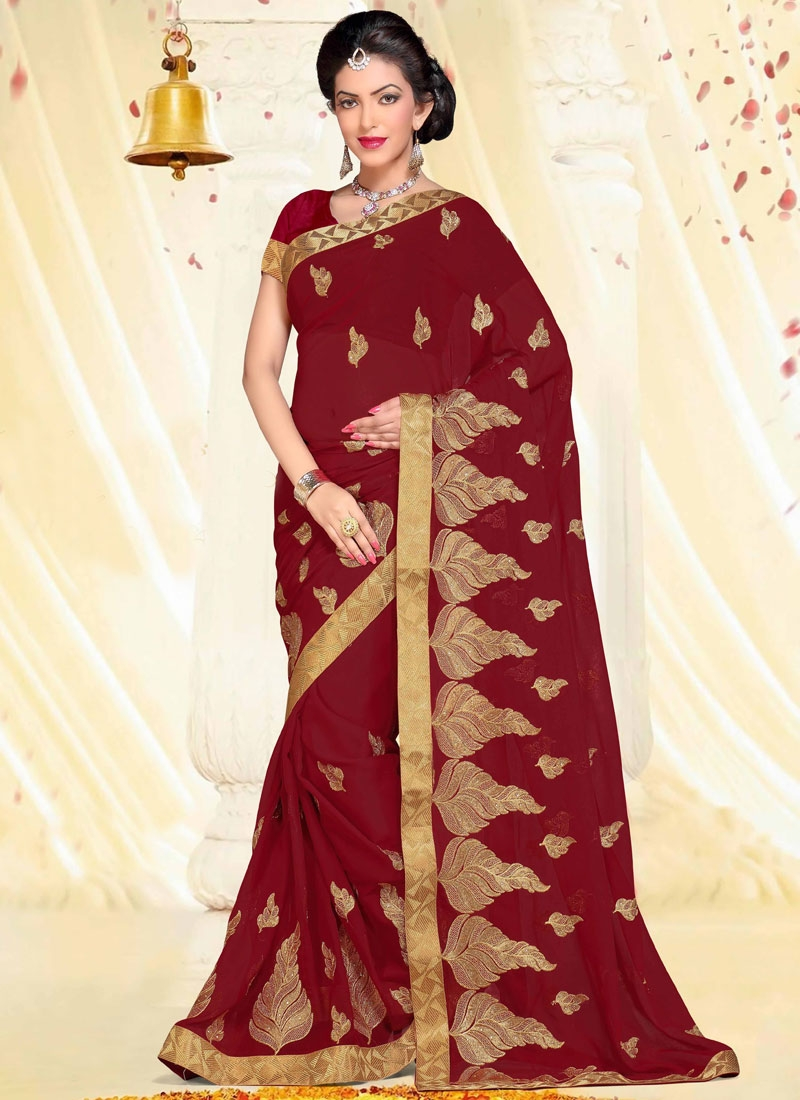 Dazzling Stone And Resham Work Party Wear Saree