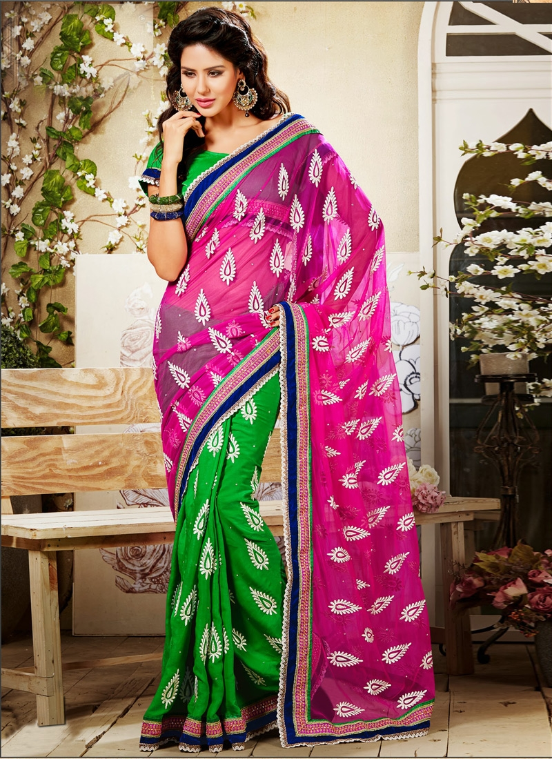 Dazzling Velvet And Net Half N Half Saree