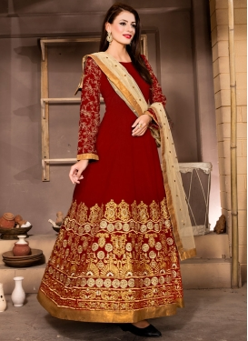 Debonair Banglori Silk Lace Work Ankle Length Designer Suit