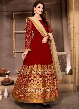 Debonair Banglori Silk Lace Work Ankle Length Designer Suit