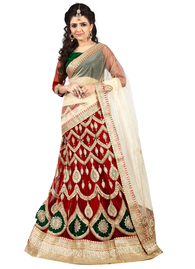 Debonair Beads And Stone Work Wedding Lehenga Choli