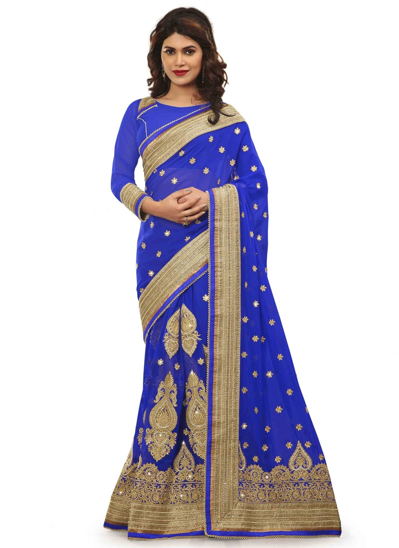Debonair Beads Work Pure Georgette Bridal Saree