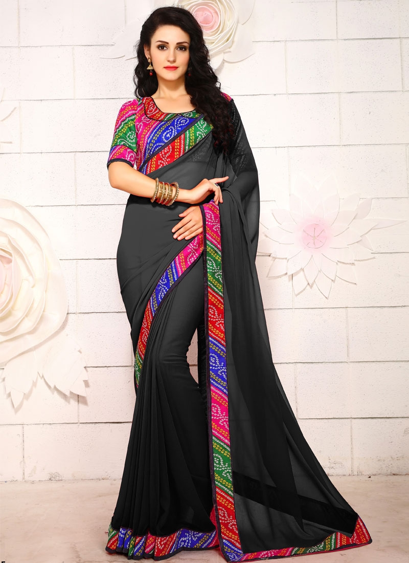 Debonair Black Color Casual Saree