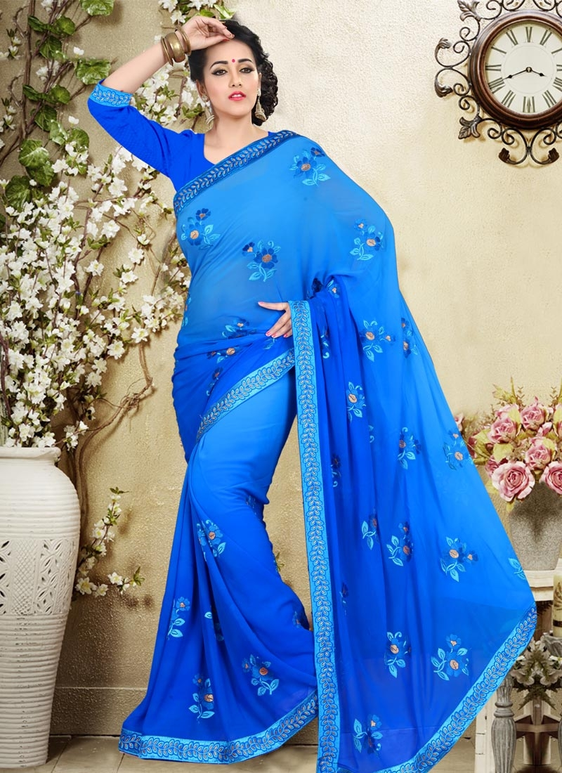 Debonair Booti Work Blue Color Party Wear Saree