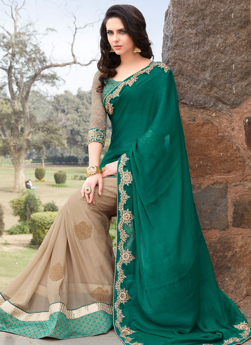 Debonair Booti Work Teal Color Half N Half Party Wear Saree