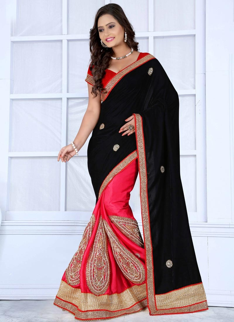 Debonair Chiffon Satin And Velvet Half N Half Wedding Saree