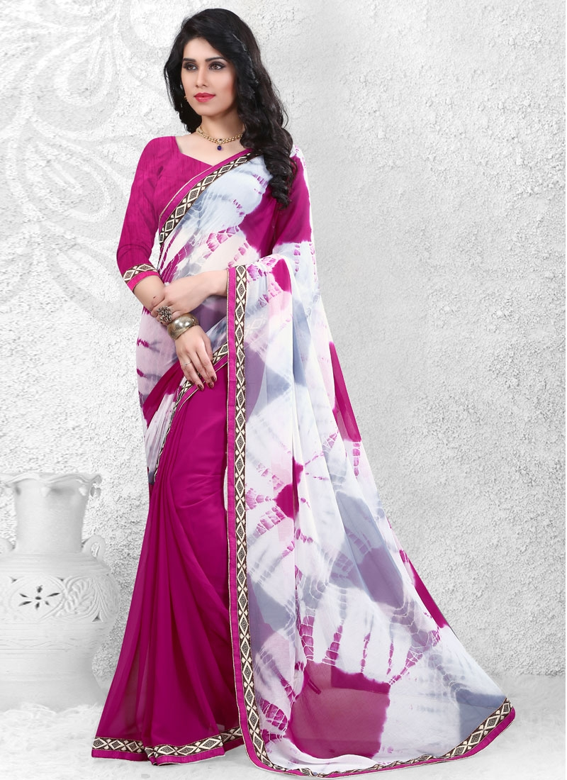 Debonair Fuchsia Color Lace Work Half N Half Casual Saree