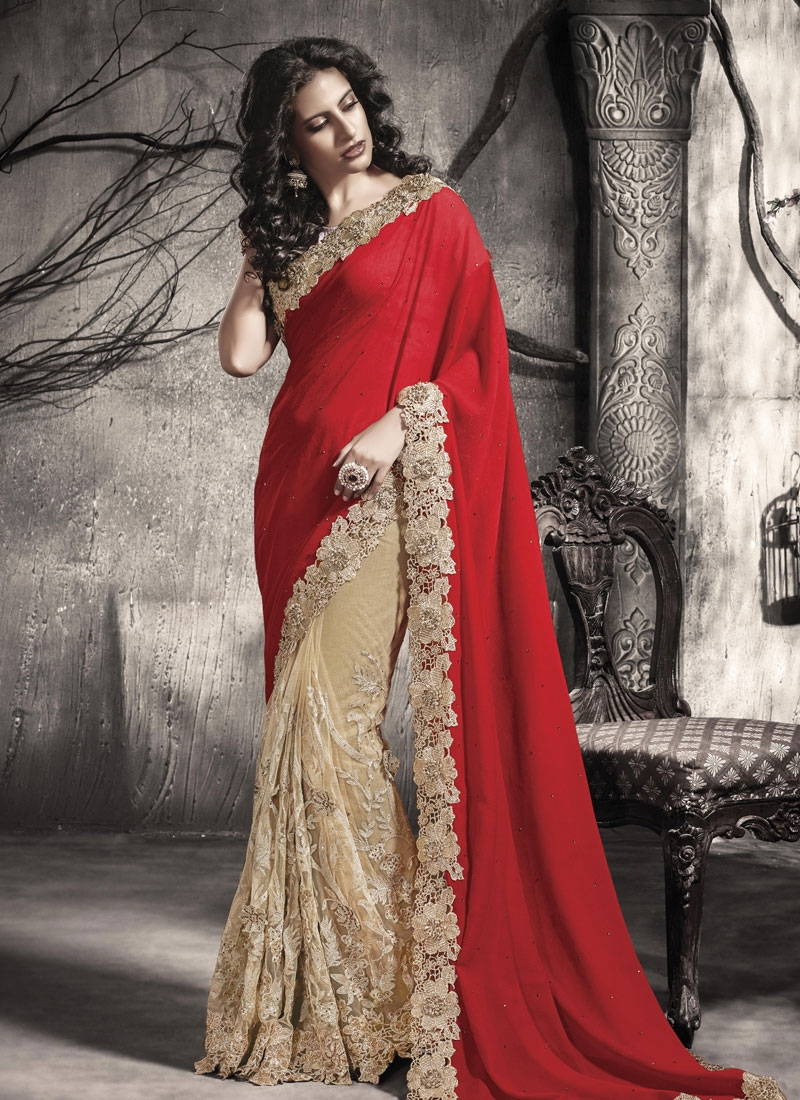 Debonair Jacquard Stone Work Half N Half Wedding Saree