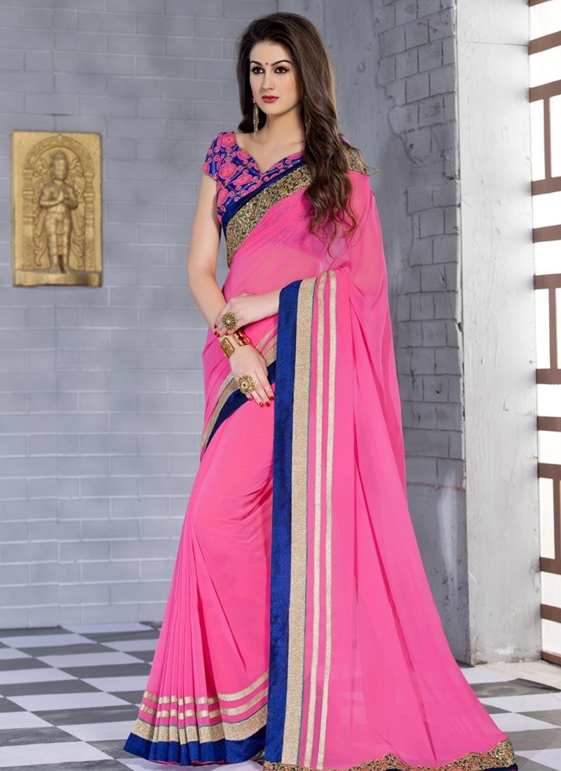 Debonair Lace Work Pink Color Party Wear Saree