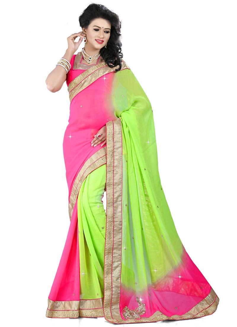 Debonair Mirror And Beads Work Party Wear Saree