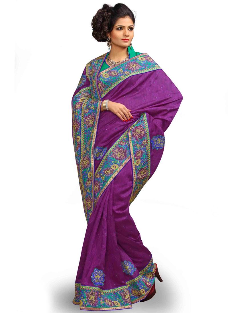 Debonair Purple Color Jacquard Silk Party Wear Saree