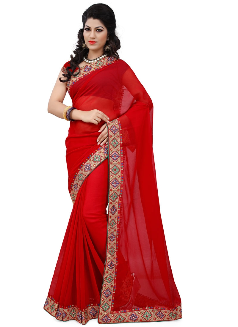 Debonair Red Color Lace Work Casual Saree