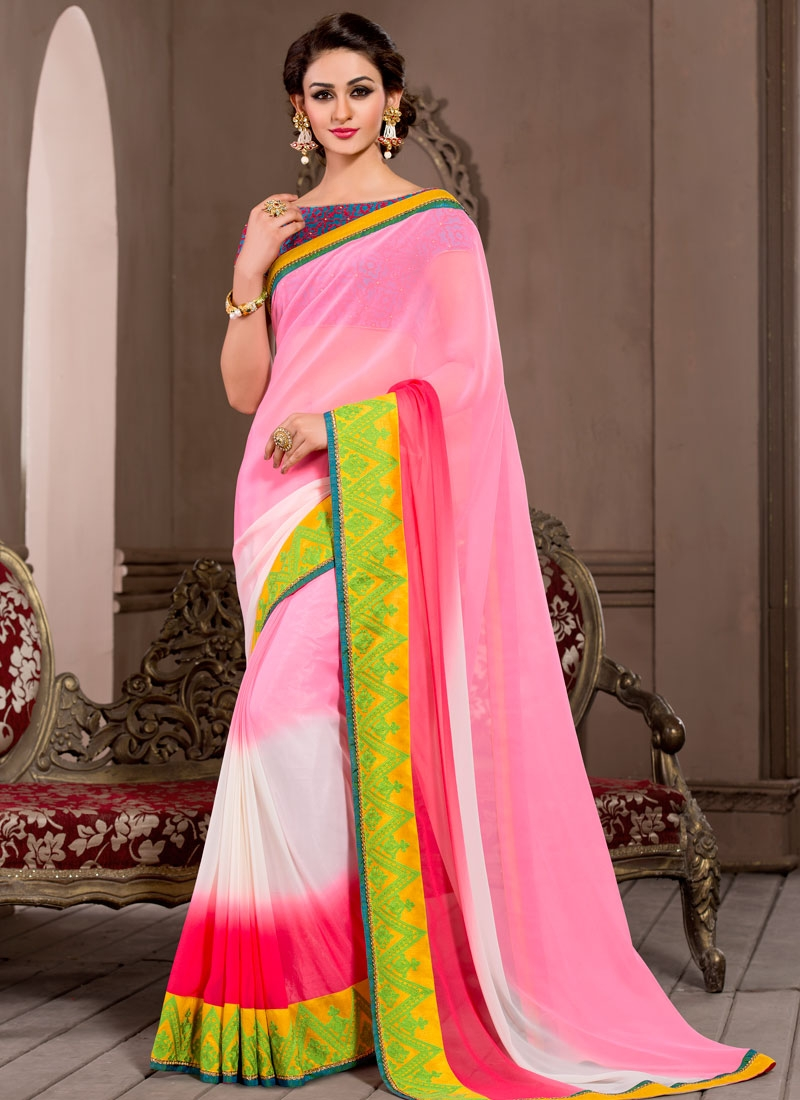 Debonair Resham And Lace Work Pink Color Party Wear Saree
