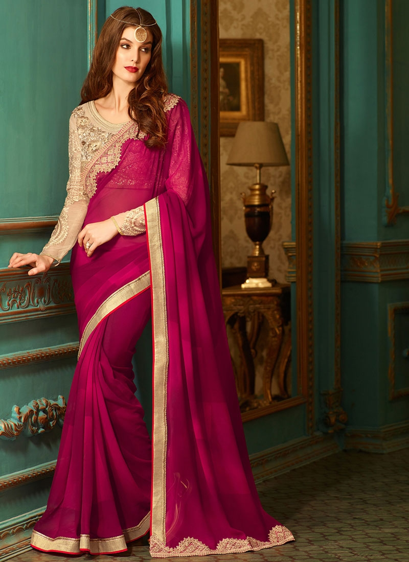 Debonair Resham Work Magenta Color Party Wear Saree