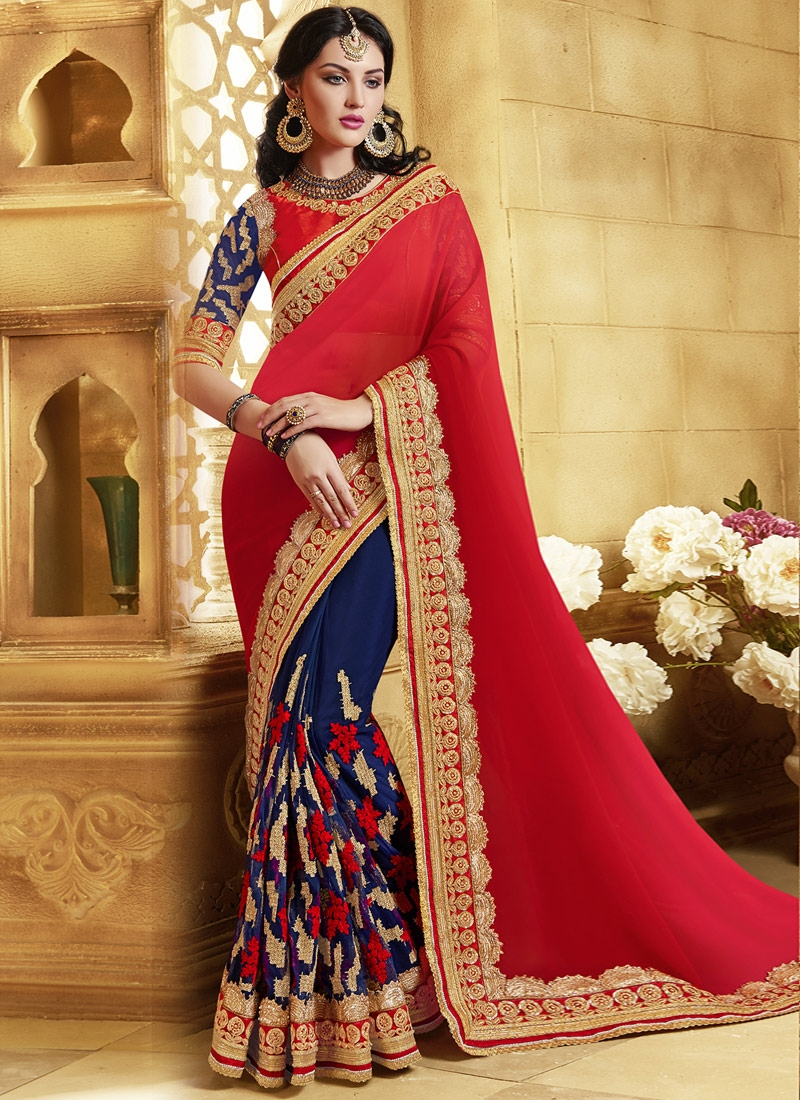 Debonair Sequins Work Half N Half Wedding Saree