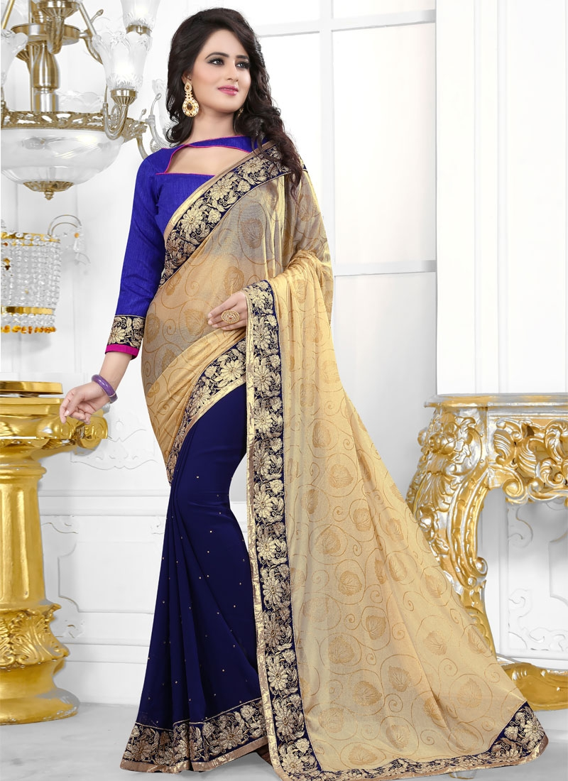Debonair Stone Work Navy Blue Color Half N Half Party Wear Saree