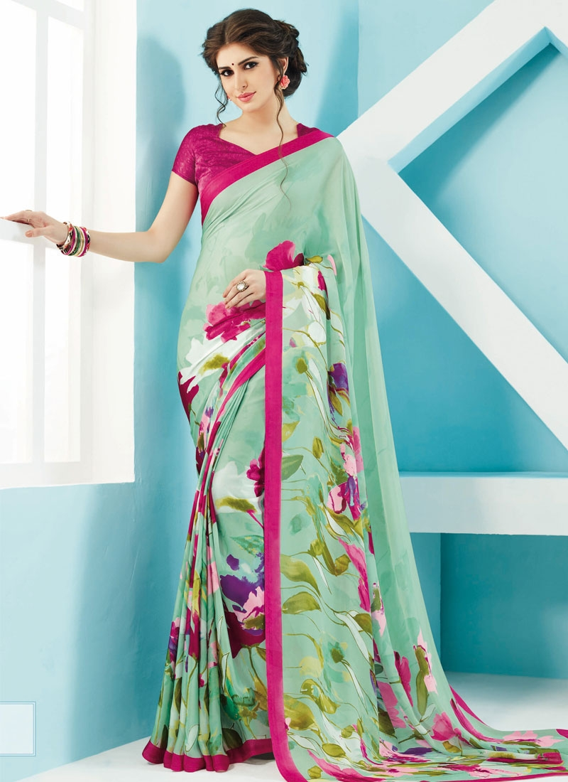 Debonair Turquoise Color Casual Saree