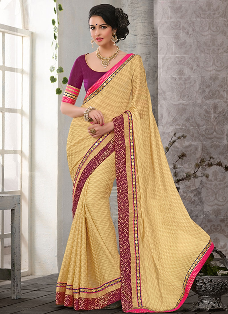Delectable Beige Color Resham Work Casual Saree