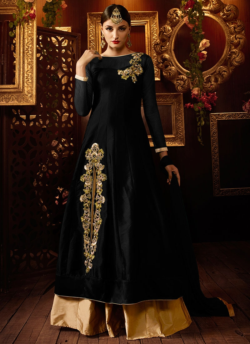 Delectable Black And Beige Color Designer Lehenga Choli