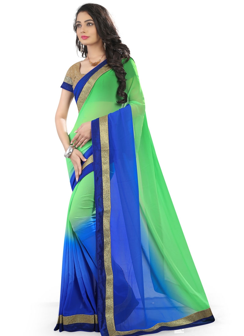 Delectable Blue Color Lace Work Casual Saree