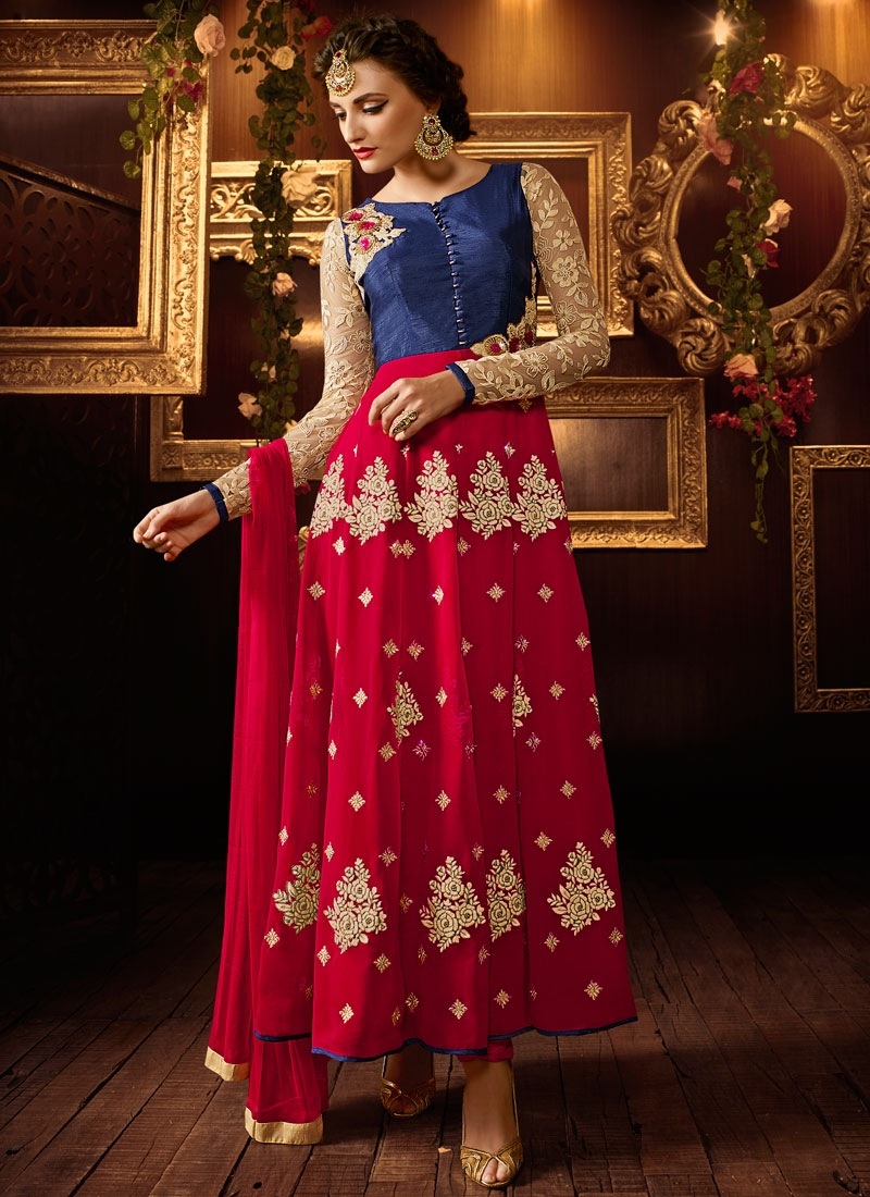 Delectable Booti Work Ankle Length Anarkali Suit