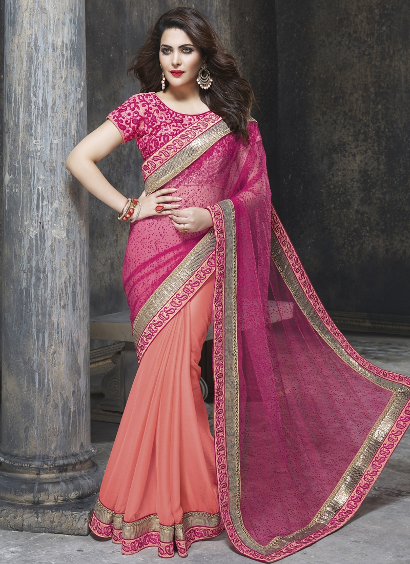 Delectable Chiffon Satin And Net Half N Half Wedding Saree