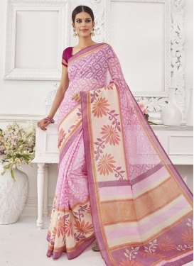 Delectable  Cream and Pink Trendy Classic Saree For Festival