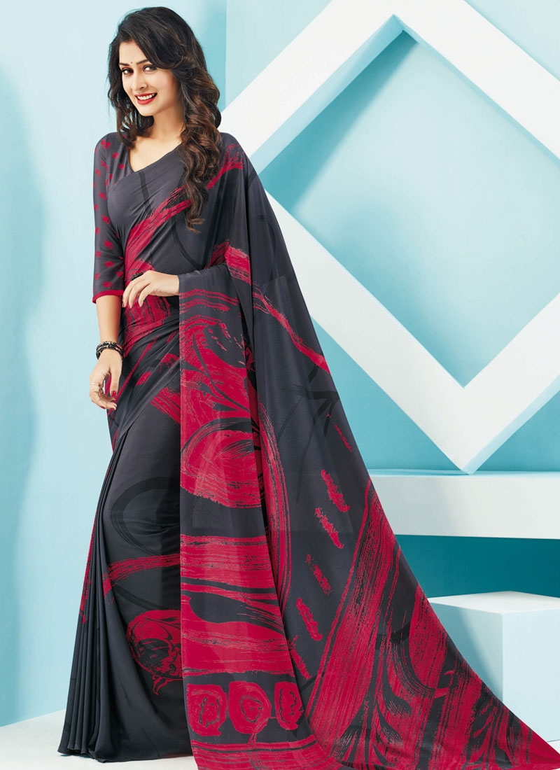 Delectable Digital Print Grey Color Casual Saree