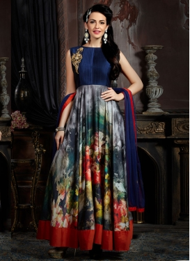 Delectable Digital Print Work Readymade Designer Gown