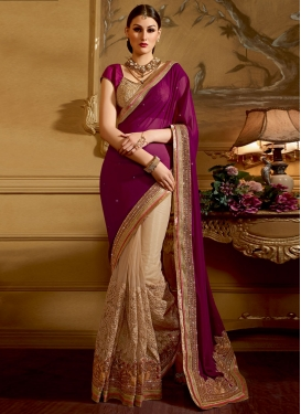 Delectable Embroidery And Stone Work Half N Half Wedding Saree