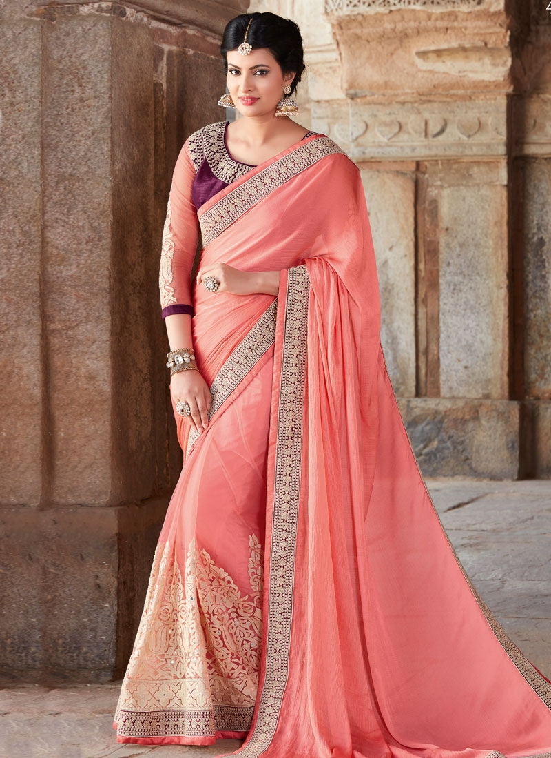Delectable Embroidery Work Designer Saree