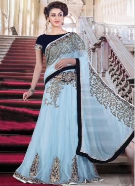 Delectable Fancy Fabric Booti Work Designer Lehenga Style Saree For Festival