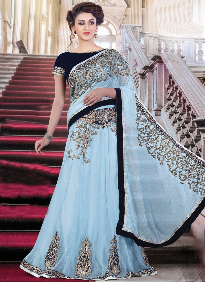 Delectable Fancy Fabric Booti Work Designer Lehenga Style Saree For Festival