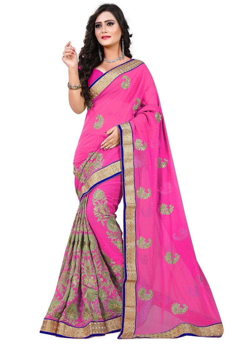 Delectable Faux Chiffon Lace Work Party Wear Saree