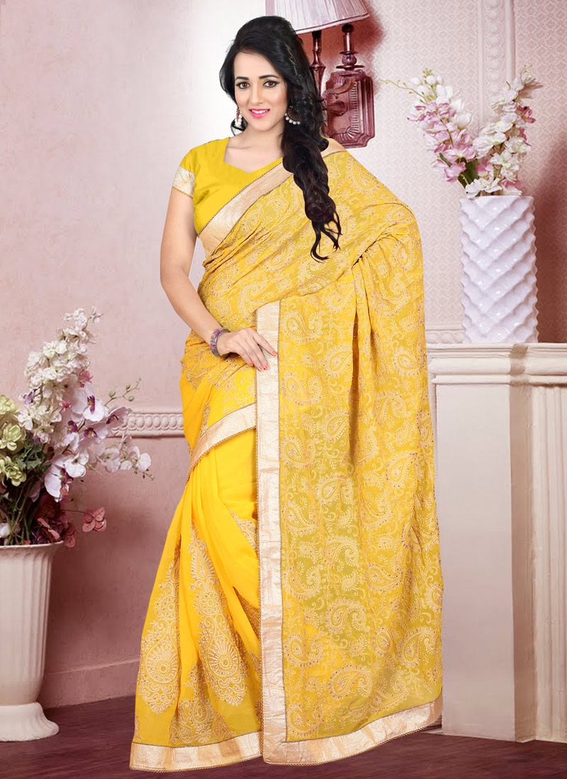 Delectable Faux Georgette Booti Work Designer Saree