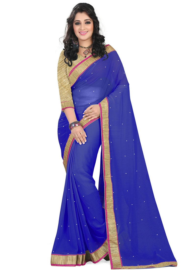 Delectable Faux Georgette Resham Work Casual Saree