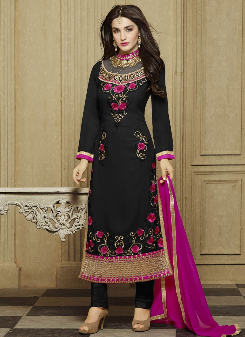 Delectable Floral And Stone Work Straight Party Wear Salwar Suit