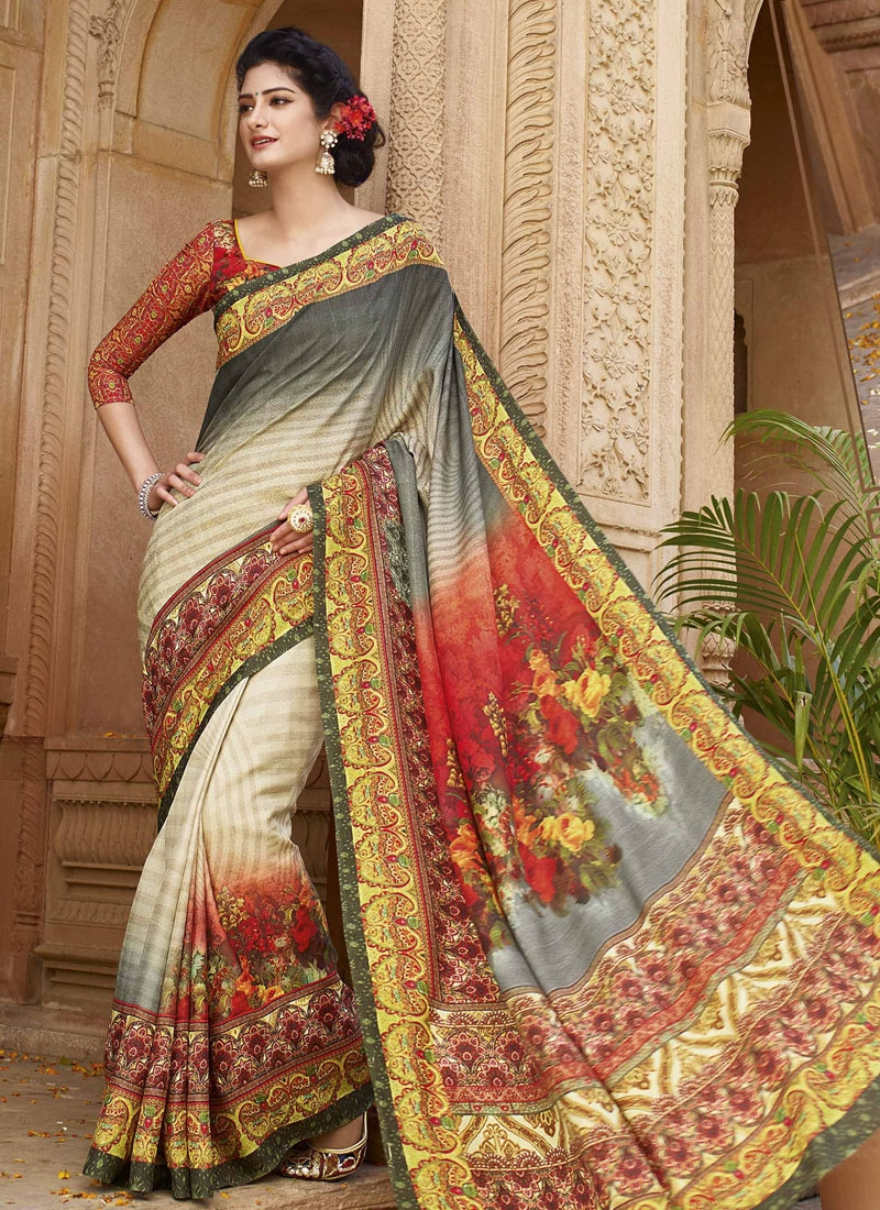 Delectable Grey And Beige Color Casual Saree