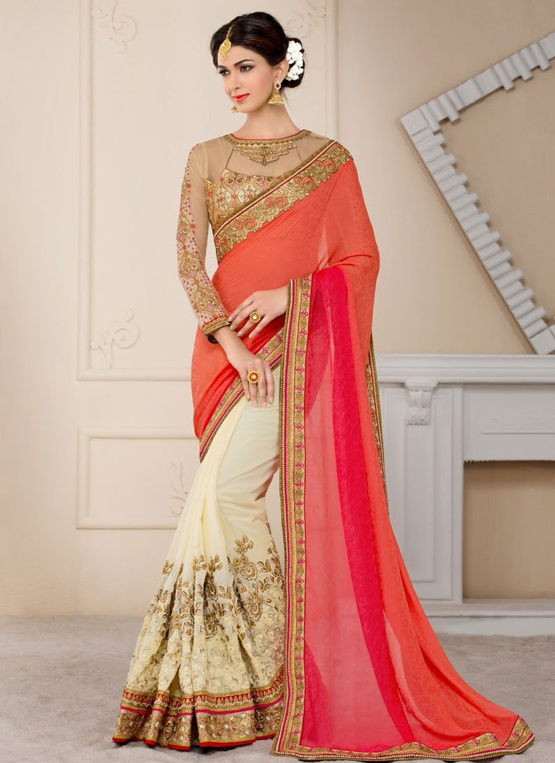 Delectable Jacquard Lace Work Half N Half Wedding Saree