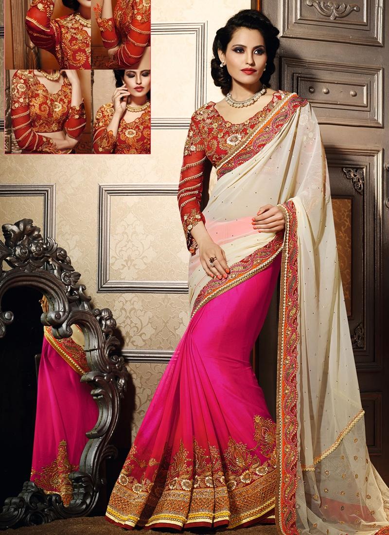 Delectable Lace Work Half N Half Wedding Saree