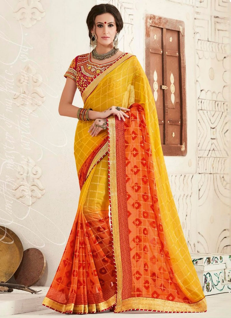 Delectable Lace Work Orange Color Party Wear Saree