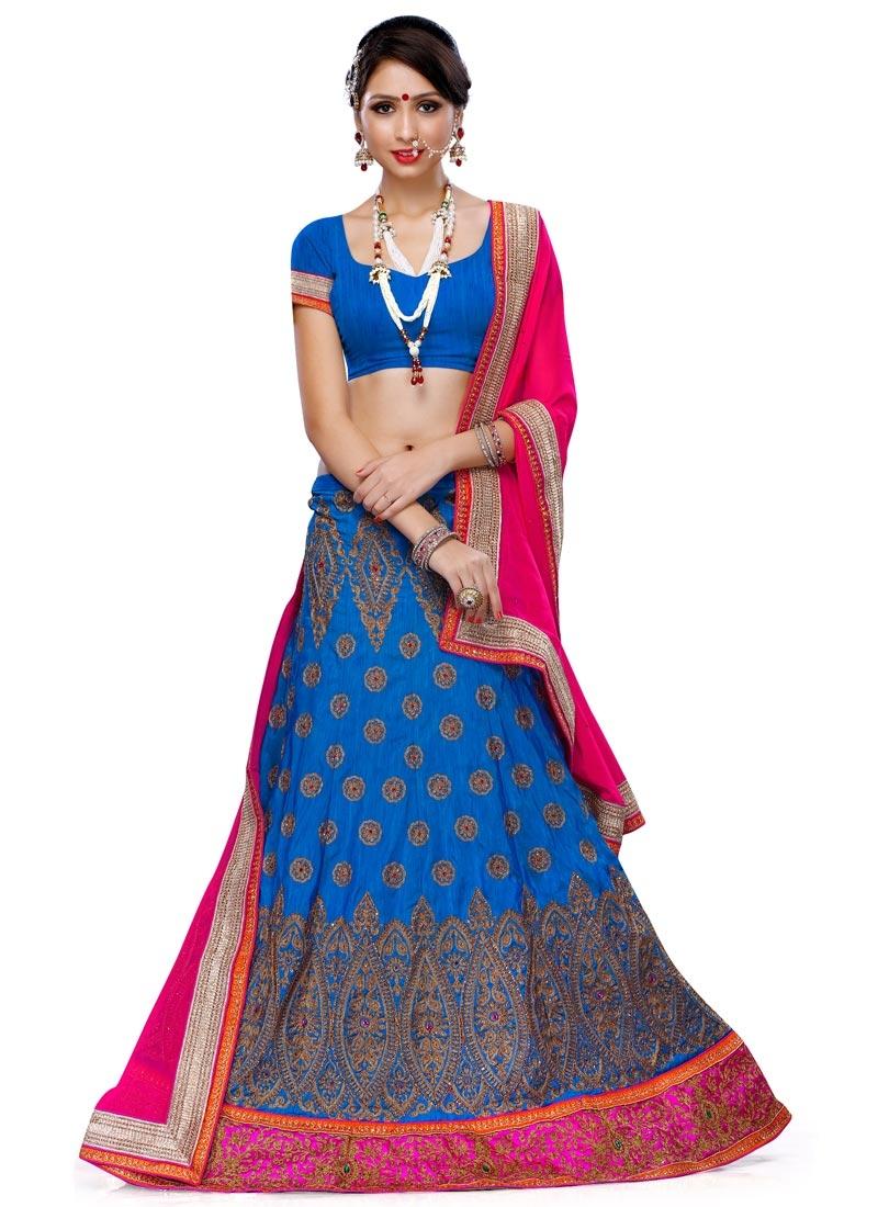 Delectable Lace Work Silk Wedding Lehenga Choli