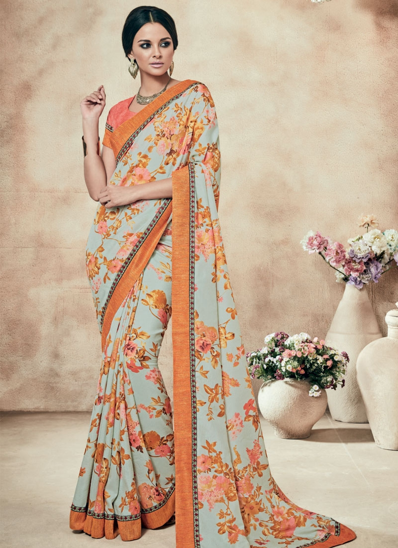 Delectable Lace Work Silver Color Party Wear Saree