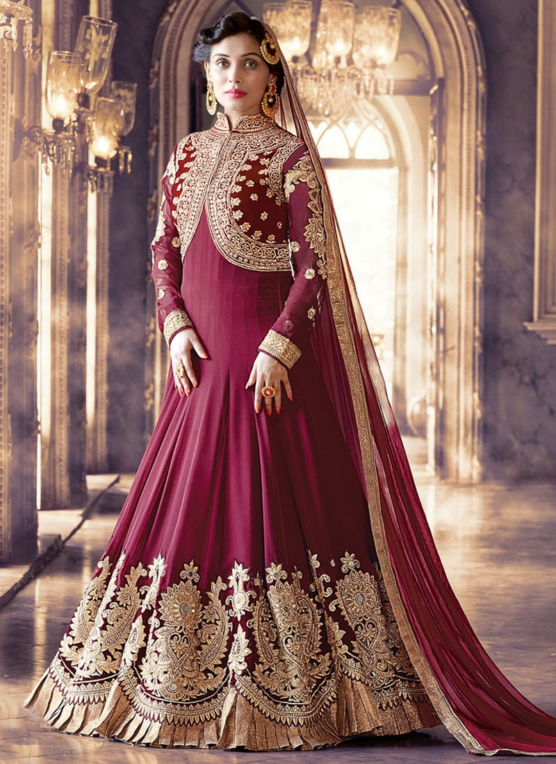 Delectable Mirror And Booti Work Floor Length Wedding Salwar Suit