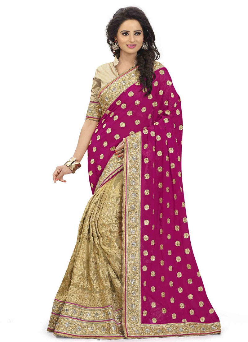 Delectable Mirror And Stone Work Half N Half Bridal Saree