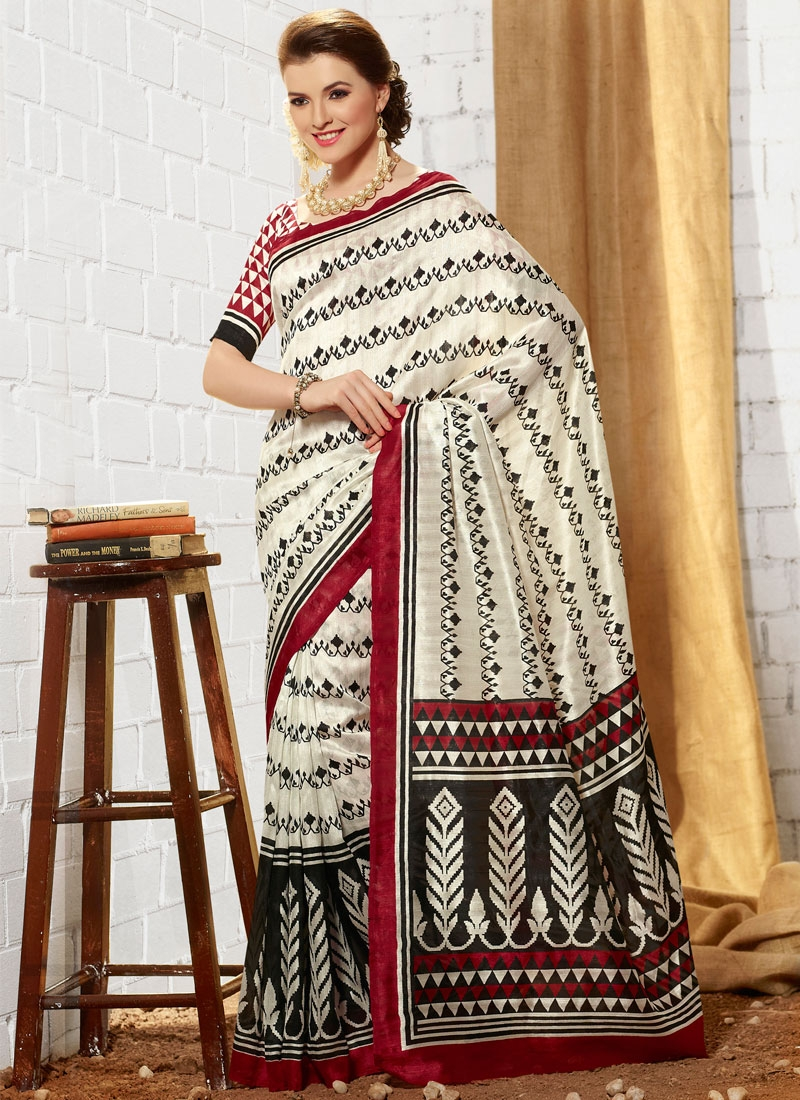 Delectable Off White And Black Color Casual Saree