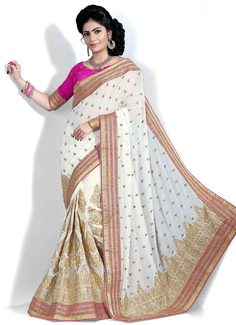 Delectable Off White Color Georgette Party Wear Saree