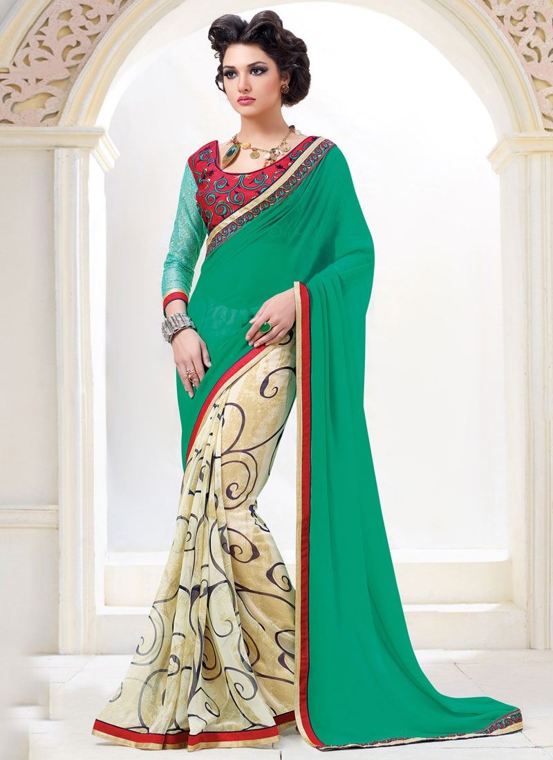 Delectable Printed Lace Work Half N Half Casual Saree