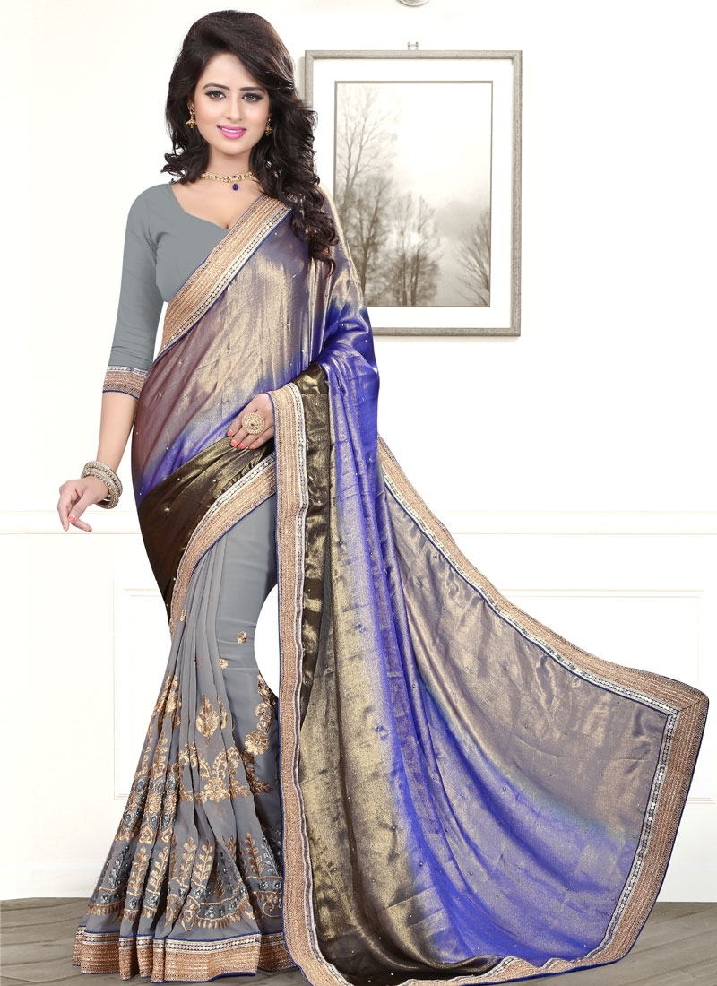 Delectable Resham Work Faux Georgette Half N Half Party Wear Saree